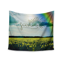 """Robin Dickinson """"You Are My Sunshine,Rainbow"""" Blue Yellow Wall Tapestry"""