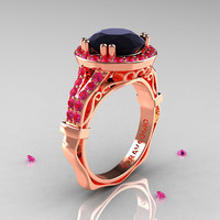 Caravaggio 14K Rose Gold 3.0 Ct Black Diamond Pink Sapphire Engagement Ring, Wedding Ring R620-14KRGPSBD