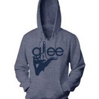 Glee TV Show Finger Logo Juniors Heather Navy Hooded Sweatshirt