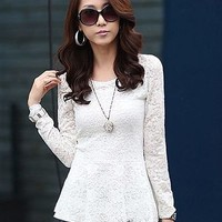 Korea New Stylish Pure Color Round Neck Slim Fit Blouse