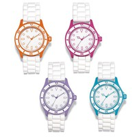 Colored Bezel Silicone Strap Watch