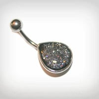 Belly Button Ring Jewelry Navel Piercing silver glitters (v08)