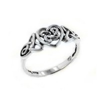 Sterling Silver Celtic Trinity Knot Heart Ring Size 8(Sizes 3,4,5,6,7,8,9,10,11,12,13,14,15,16)