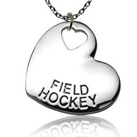 Silver Plated Field Hockey Heart Necklace