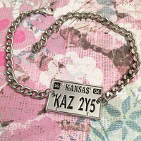 KAZ2Y5 Supernatural Impala License Bracelet - Supernatural Jewelry - Handstamped Jewelry - Fandom Jewelry