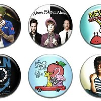 """Set of 6 New Never Shout Never 1.25"""" Pinback Button Badge Pin"""