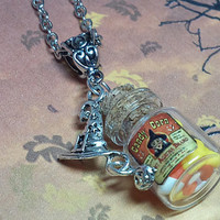 Candy Corn Bottle Necklace - Halloween Jewelry