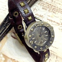 Handmade Vintage Leather Band Classical Face Watches Woman Girl Quartz Wrist Watch Dark Brown