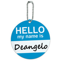 Deangelo Hello My Name Is Round ID Card Luggage Tag