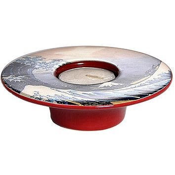 Hokusai Japanese Big Wave Ceramic Flat Tealight Candleholder 4W