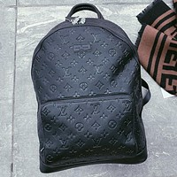 LV Louis Vuitton New fashion monogram leather backpack bag handbag women Black