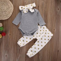 3-18M Baby Girl 3pc Deer Print Outfit