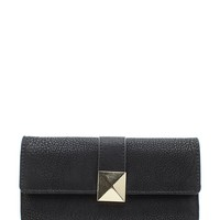 Pyramid Stud Accented Trifold Wallet