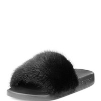 Givenchy Mink Fur & Rubber Slide Sandal