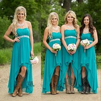 2016 Teal Bridesmaid Dresses For Wedding Chiffon Hi-lo Plus Size High Low Empire Pregnant Beaded Maid Honor Gowns Under 100