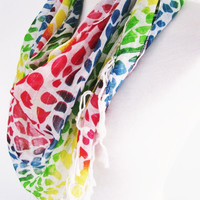 Colorful Leopard Cotton Triangle Scarf, Headband, Necklace, Gift, Woman