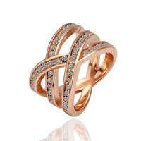 Lucky Cross Rose Gold Plated Ring