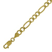 Polished 4mm Figaro Chain Bracelet or Necklace in Solid & Real 10k Yellow Gold