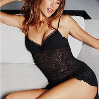 Black Spaghetti Strap Lace Lingerie And Thong