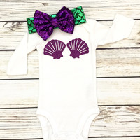 Mermaid Shell Bra Baby Girl Bodysuit with Matching Headband