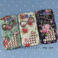 One Direction--Infinity Samsung Case with silver studs,Flowers Samsung Galaxy S3 case,Studded Samsung Case cover