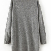 Grey Mock Neck Dip Hem Loose Sweater Dress