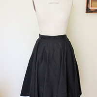 Vintage 50s Black Full Circle Cotton Skirt