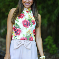 Buy Me Roses Blouse: Red/Ivory | Hope's