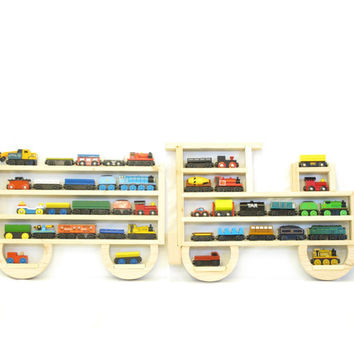 Wooden Wall Storage Train Rack Organizer for Thomas Tank Engine and Brio Tracks