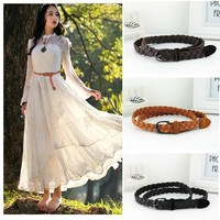 Women Braided Design Leather Belt In Candy Colors