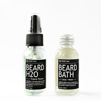 SUMMER BEARD CARE. beard H2O spray + beard bath wash. 100% natural & vegan men's grooming set.