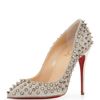 Follies Spike-Studded Glitter Red Sole Pump, Colombre - Christian Louboutin - Ivory/Colombre