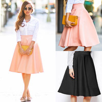 High Quality Women Lady Casual Fashion Summer High Waist Flared Pleated Business A-Line Simple Long Maxi Dress Skirt Pink/Black