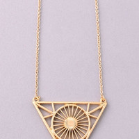 Long Radiating Circle Triangle Necklace - Gold or Silver