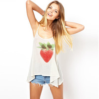 White Strap Strawberry Print Top
