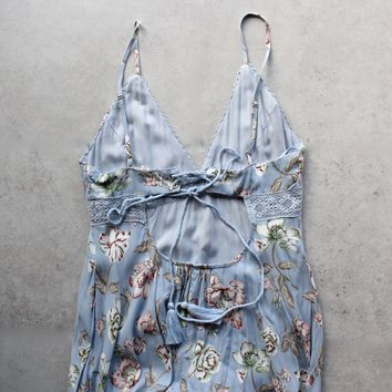 open back floral maxi - sky blue