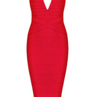 Celebrity bandage dress cocktail evening party sleeveless Deep V-neck Yellow Black Red Nude XS S M L