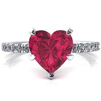 Sicili Heart Ruby 5 Prong 3/4 Micro Pave Diamond Engagement Ring