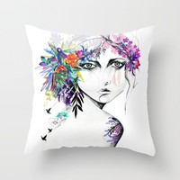 Exotic Girl Throw Pillow by Holly Sharpe