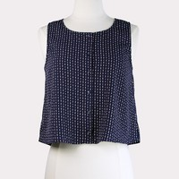 Navy Button Front Top