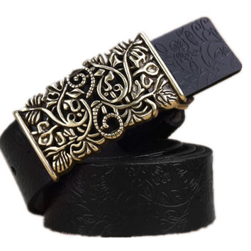 2015 Two Layer Cowskin Leather Belts For Women Carved Design Retro Metal Buckle Women