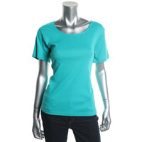Karen Scott Womens Petites Cotton Scoop Neck Casual Top