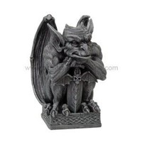 Gargoyle with Shield and Snarl Face Squatting Figurine 6.5H