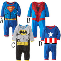 Free shipping baby boy clothes carters baby boy Cotton spiderman Baby climb clothes 0-2 age