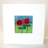 Five inch square organza flower card - for framing - embroidered card - textile art greeting card - wedding gift card