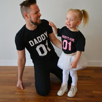 Family Matching Clothes Father Daughter T Shirt DADDY'S GIRL Tees Shirts Tops Fathers Day Gift Summer Men short sleeve t shirt