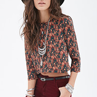 FOREVER 21 Floral Print Top Green/Rust