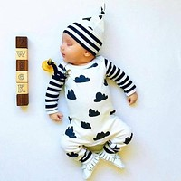 Autumn style Baby Boy Girl Rompers Long Sleeve Cartoon Clouds Infant Jumpsuit+Hat 2 Pcs Casual Outfit born Baby Clothes