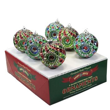 Shiny Brite Holiday Splendor Faceted Rounds Ornament Set 6 Reflectors - 4027717