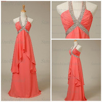 Real A-line Halter Sleeveless Floor-length Chiffon Beading Coral Long Bridesmaid Dresses Prom Dresses Evening Dresses 2014 New Arrival
